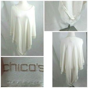 Chico's Poncho Sweater Women's S/M Sheer Edging